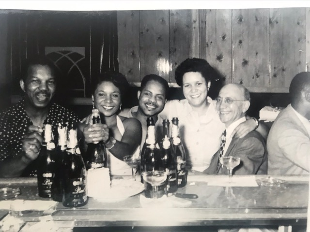 Birthday (?) at The Pythodd Part III, six people at Pythodd bar. Second from right may be Roy King. Same party as other photos, from later in the night.