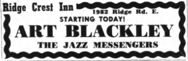 """A small newspaper ad advertises """"Art Blackley The Jazz Messengers"""" [sic] as the week's performers."""