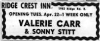 A small newspaper ad lists Valerie Carr & Sonny Stitt as the week's performers