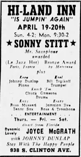 A vertical ad for the Hi-Land Inn lists upcoming performers. Sonny Stitt's name is bolded and surrounded by stars.