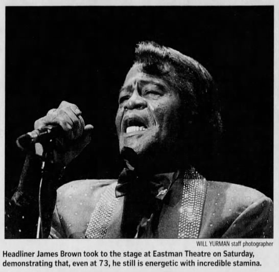 """Image from the Rochester International Jazz Festival. Caption Reads, """"Headliner James Brown took to the stage at Eastman Theatre on Saturday, demonstrating that, even at 73, he still is energetic with incredible stamina."""""""