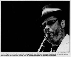 "Image from the Rochester International Jazz Festival. Caption reads, ""New York City clarinetist Don Byron might still hold a grudge 30 years after being rejected as an applicant by the Eastman School of Music, but he packed Kilbourn Hall on Friday night and he seems to have done OK for himself over the years"""