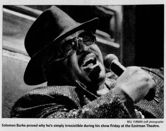 """Image from the Rochester International Jazz Festival. Caption Reads, """"Solomon Burke proved why he's simply irresistible during his show Friday at the Eastman Theatre."""""""