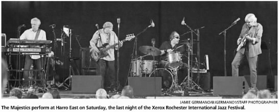 """Image from the Rochester International Jazz Festival. Caption reads, """"The Majestics perform at Harro East on Saturday, the last night of the Xerox Rochester International Jazz Festival."""""""