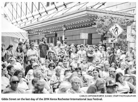 """Photo from the Rochester International Jazz Festival. Caption reads, """"Gibbs Street on the last day of the 2014 Xerox Rochester International Jazz Festival."""""""