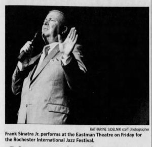 """Image from the Rochester International Jazz Festival. Caption reads, """"Frank Sinatra Jr. preforms at the Eastman Theatre on Friday for the Rochester International Jazz Festival."""""""
