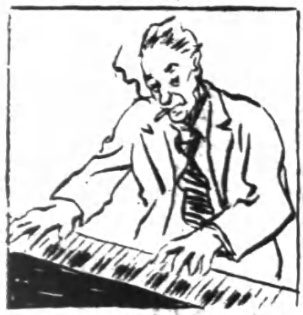 A line-drawn image of a man in a suit playing a piano