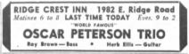 A small newspaper ad lists the Oscar Peterson Trio as the Ridge Crest's performers that night