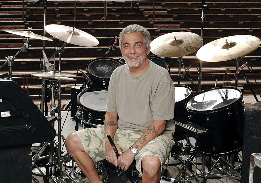 Color image of Steve Gadd sitting amongst his drums