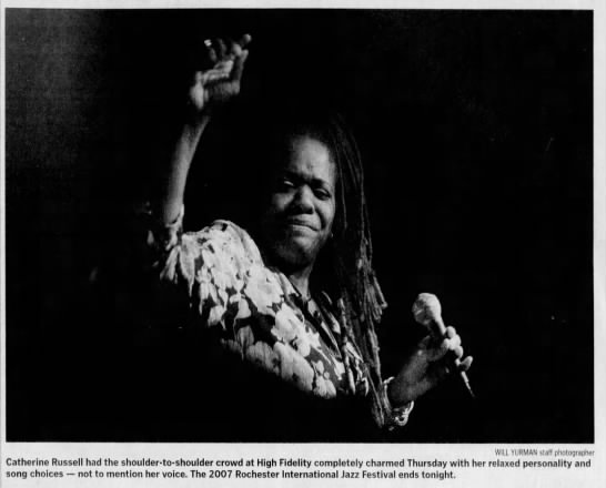 """Image from the Rochester International Jazz Festival. Caption reads, """"Catherine Russell had the shoulder-to-shoulder crowd at High Fidelity completely charmed Thursday with her relaxed personality and song choices not to mention her voice."""""""