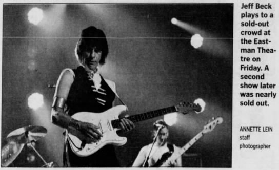 """Image from the Rochester International Jazz Festival. Caption reads, """"Jeff Beck plays to a sold-out crowd at the Eastman Theatre on Friday. A second show later was nearly sold out."""""""