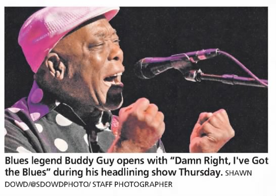 """Photo from the Rochester International Jazz Festival. Caption reads, """"Blues legend Buddy Guy opens with """"Damn Right, I've Got the Blues"""" during his headlining show Thursday."""""""