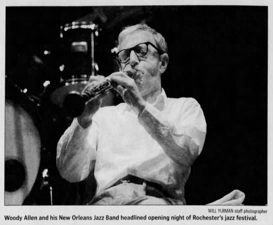"""Image from the Rochester International Jazz Festival. Caption reads, """"Woody Allen and his New Orleans Jazz Band headlines opening night of Rochester's jazz festival."""