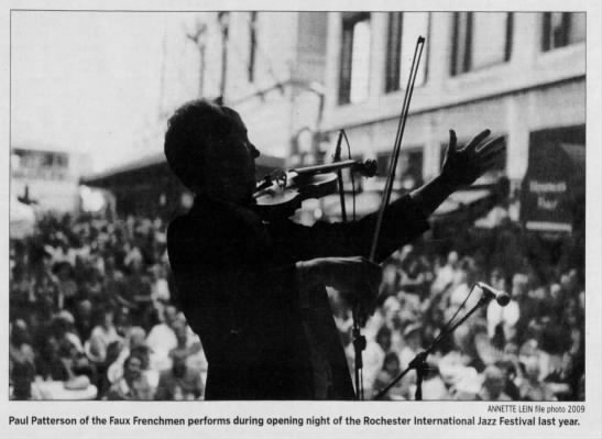 """Image from the Rochester International Jazz Festival. Caption reads, """"Paul Patterson of the Faux Frenchman preforms during opening night of the Rochester International Jazz Festival last year."""""""