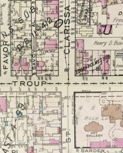 Plat Map from the 1930s showing the corner of Troup Street and Clarissa. The Pythodd Hall is located at this corner, at 159 Troup Street.